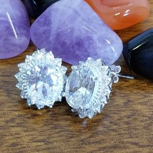Large karat cubic zirconia sterling earrings